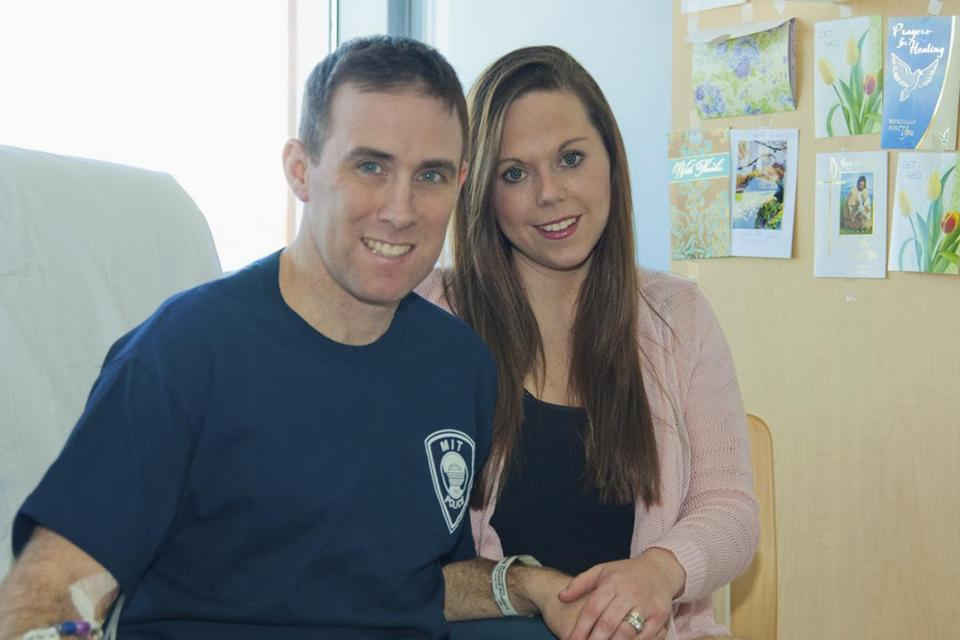 MBTA transit police officer Richard Donohue with his wife, Kim.