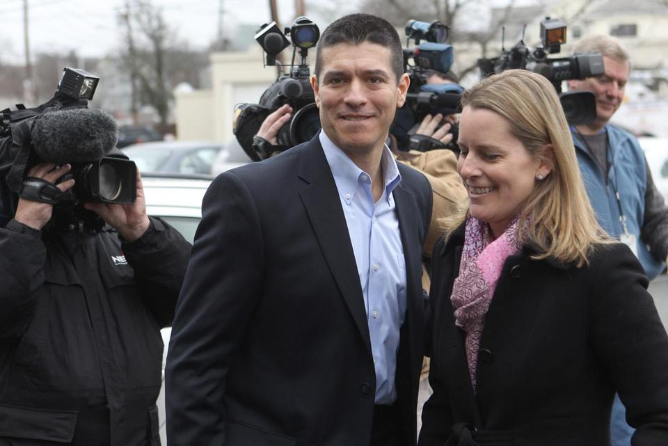 Gabriel Gomez with his wife, Sarah, appeared in February on the US Senate campaign trail for first time.