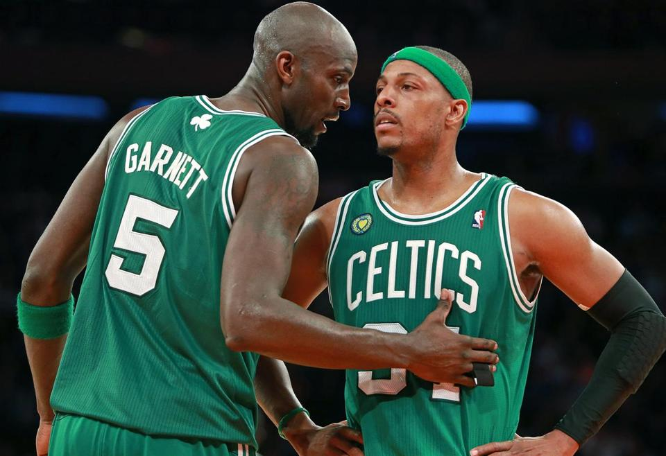 Paul Pierce and Kevin Garnett combined for 32 points, Garnett collected 18 rebounds and Pierce canned four 3-pointers.