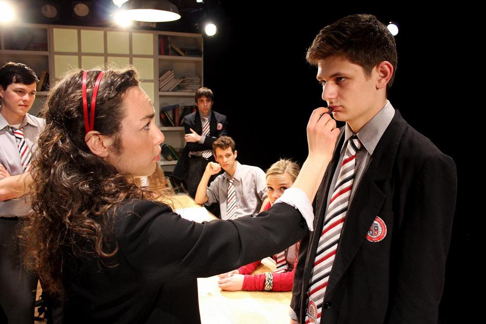 "Alana Osborn-Lief and Alex Levy (front) with (back, from left) James Fay, Phil Gillen, Diego Buscaglia, and Alexandra Marie Harrington in ""Punk Rock."""
