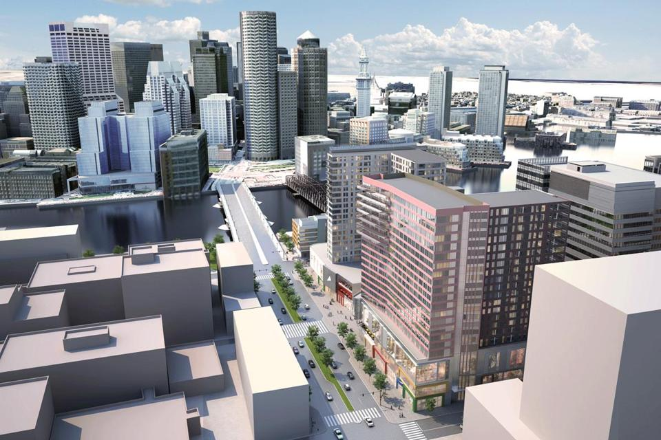 An architect's rendering shows the zoning footprint approved for buildings in the Seaport Square project.