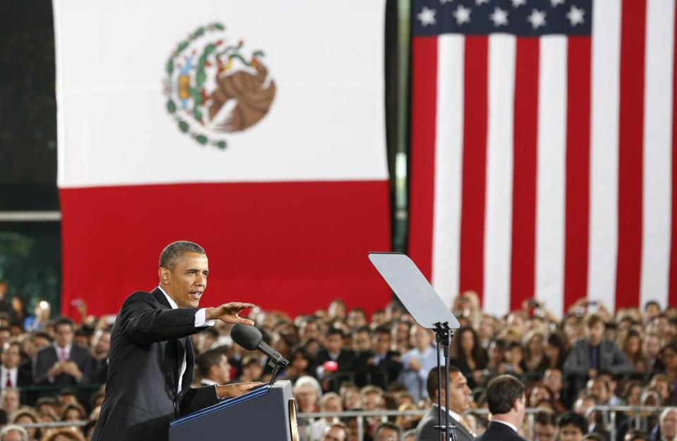 President Obama spoke at the Anthropology Museum in a stop Friday in Mexico City.