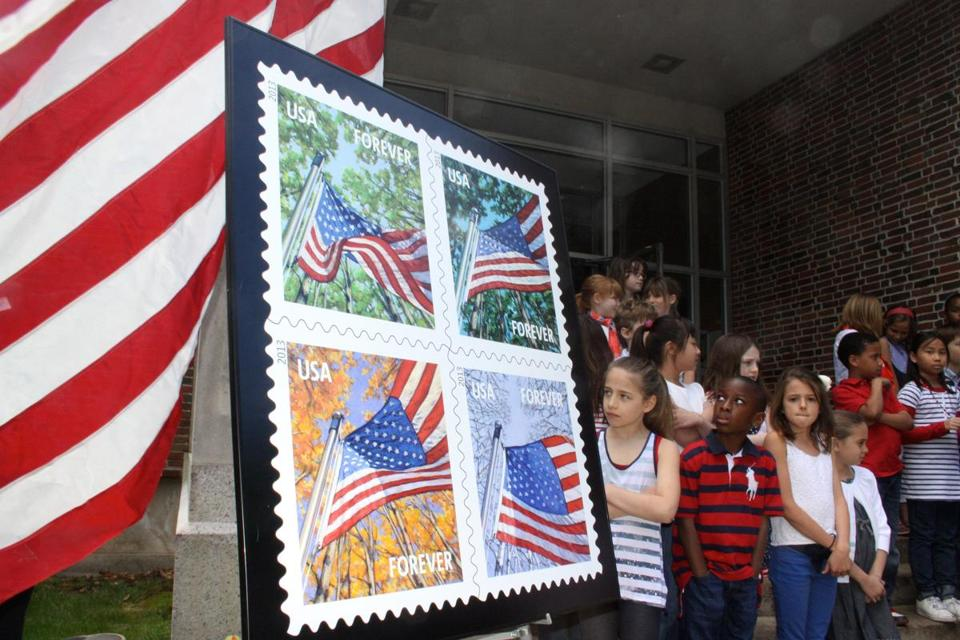 "Students in the Weston Country School Chorus attended the ""Flag for All Seasons"" Forever Stamp ceremony."