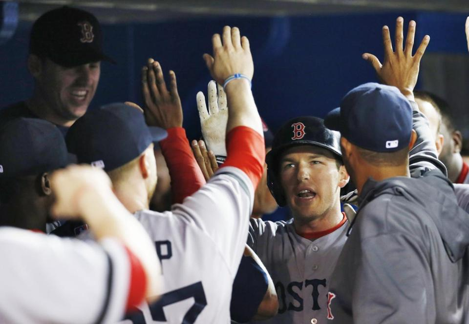 Stephen Drew drew congratulations after a home run in Wednesday's game.