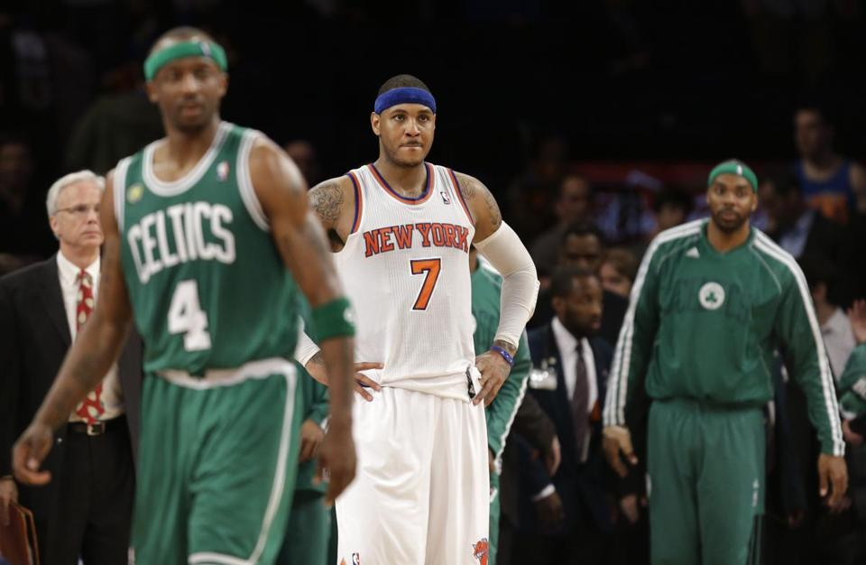 Carmelo Anthony, center, and the Celtics are looking for a way to close out the Celtics.