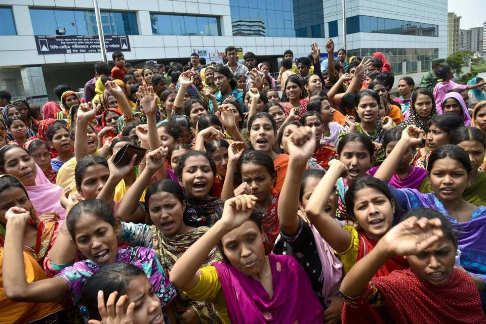 Garment workers shouted slogans during a protest for better working conditions in Dhaka, Bangladesh.