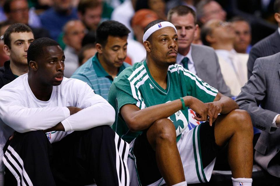 A dejected Paul Pierce watches Game 6 slip away from the Celtics Friday night against the Knicks. Pierce's future in Boston now becomes the primary focus.