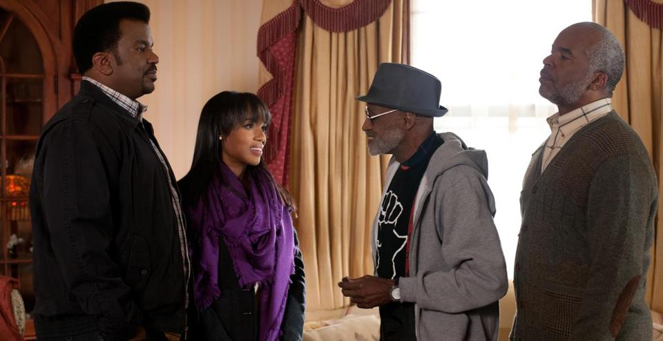 "From left: Craig Robinson, Kerry Washington, Melvin Van Peebles, and David Alan Grier in Tina Gordon Chism's ""Peeples."""