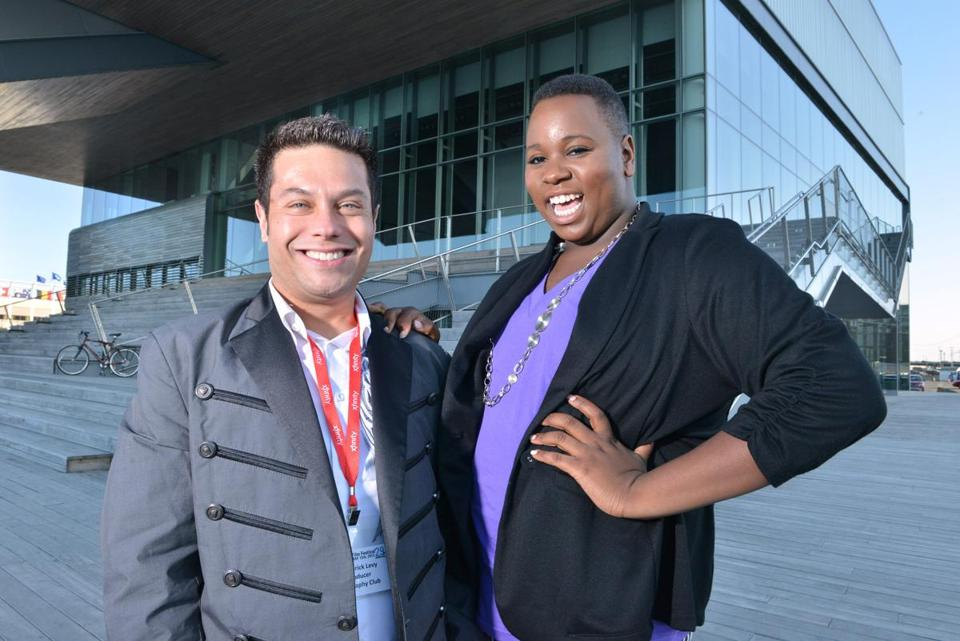 "Frederick Levy, executive producer of ""Geography Club,"" and Alex Newell at the ICA."