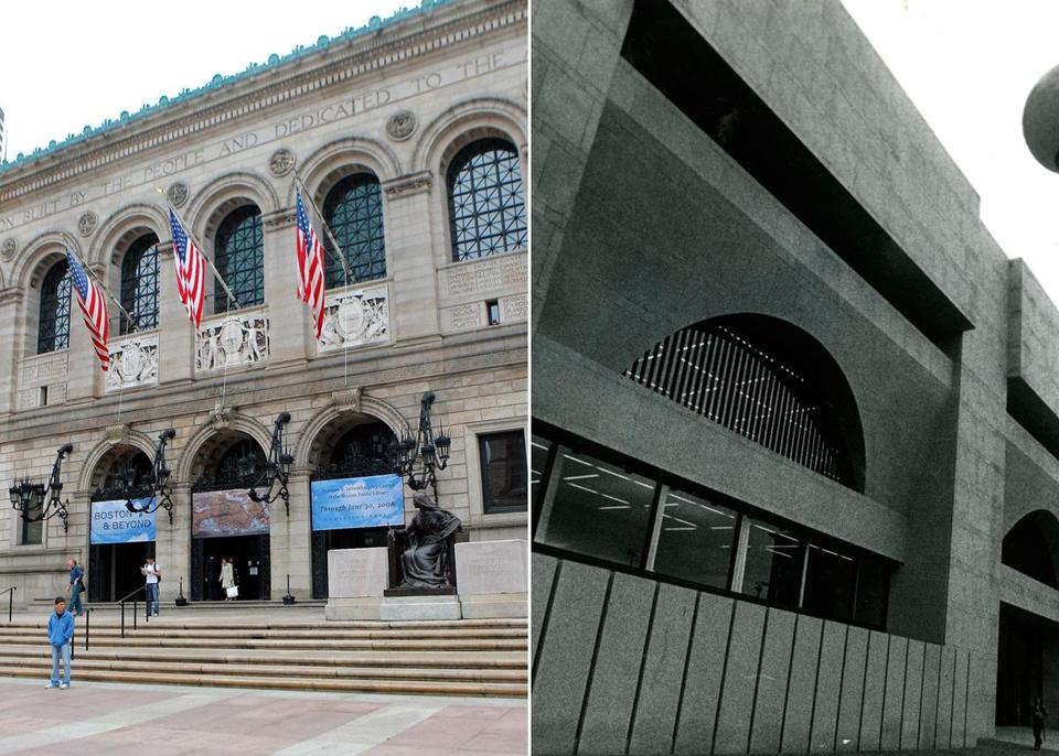 The ornate McKim building was constructed in 1895 and the modernist Johnson building in 1972.