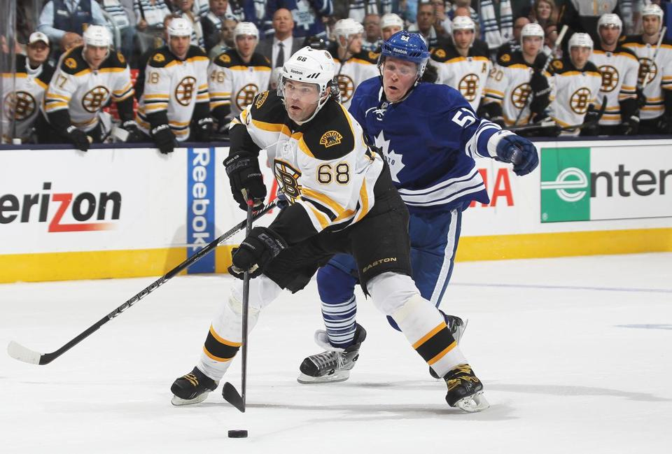 Jaromir Jagr posted six shots and contributed a key assist in the Bruins' 5-2 win over the Leafs.