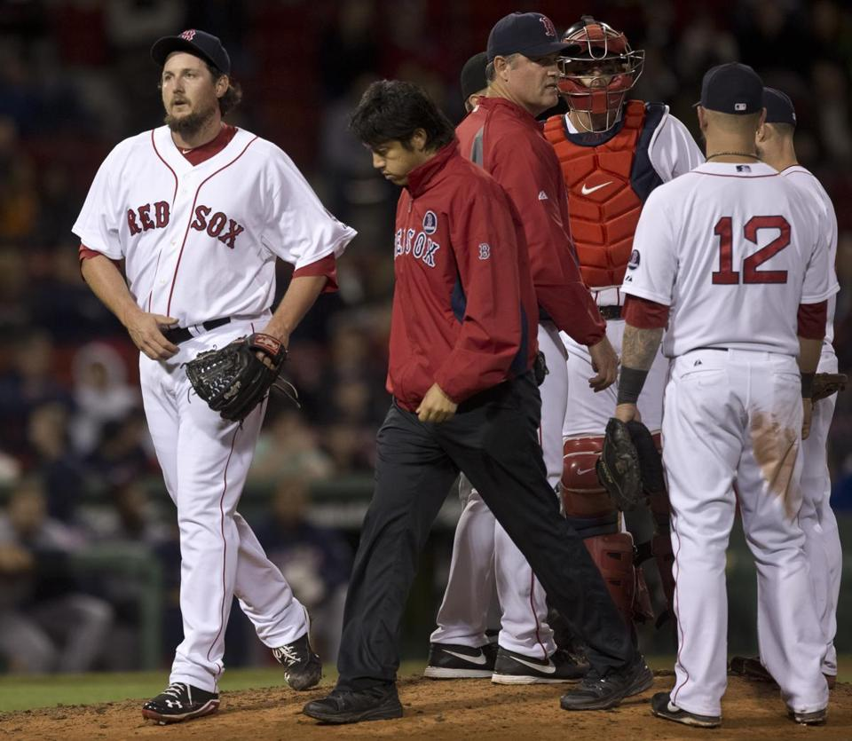Joel Hanrahan left because of forearm tightness shortly after blowing a save in the ninth.