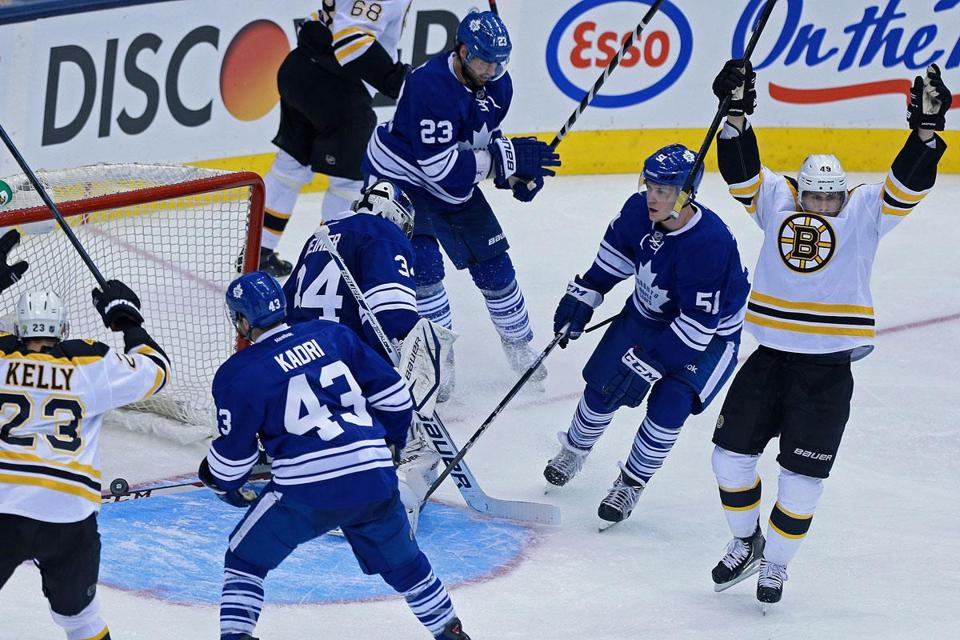 There were a lot of Maple Leafs looking around for answers after Rich Peverley gave the Bruins a 2-0 lead early in the second period in Toronto. Boston now owns a 2-1 series lead.