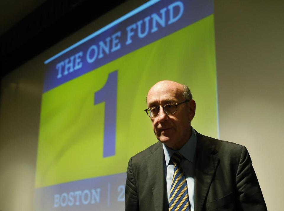 Ken Feinberg, administrator for One Fund Boston, conducted a town hall-style meeting for Marathon bombing victims at the Boston Public Library on Tuesday.
