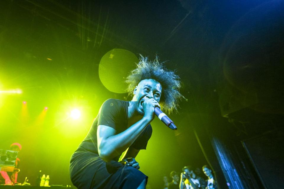 Danny Brown (pictured performing in New York earlier this week) played to a sold-out crowd at the Middle East Downstairs on Thursday.