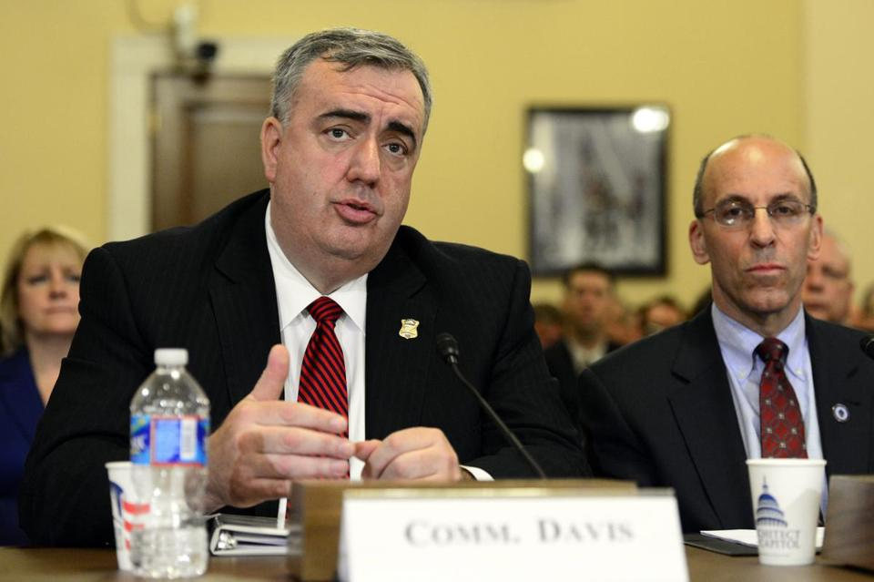 Boston Police Commissioner Edward Davis (left) delivered remarks during the House Homeland Security Committee hearing on the Marathon bombings.