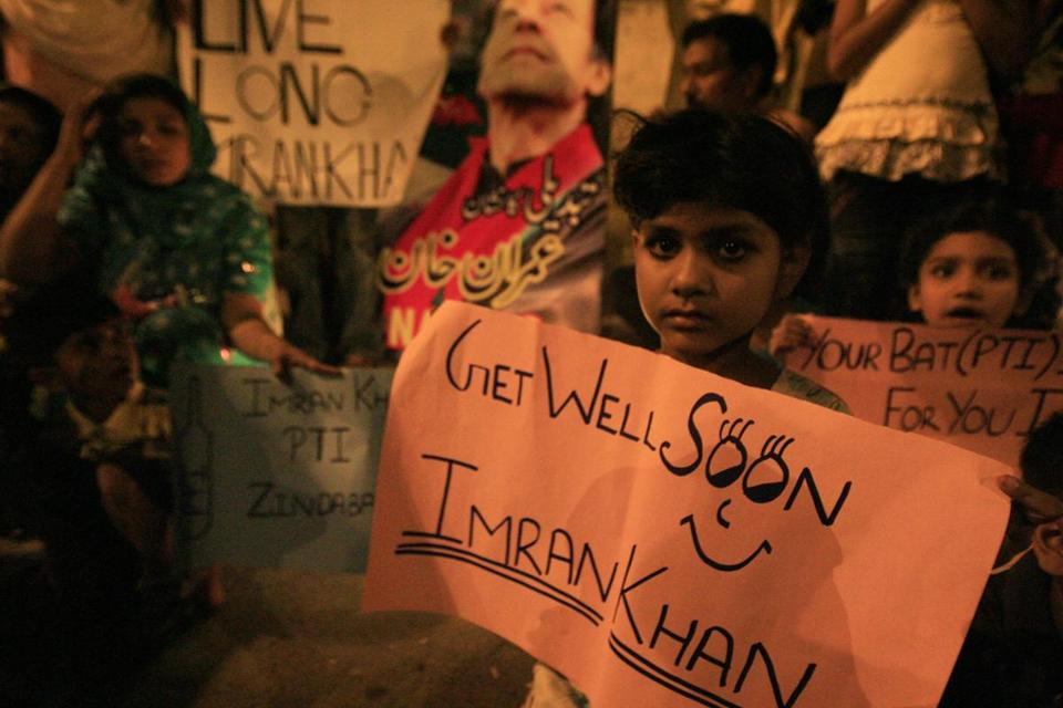 Supporters of Imran Khan rallied in Lahore Wednesday, a day after the popular politician fell 15 feet from a fork lift.