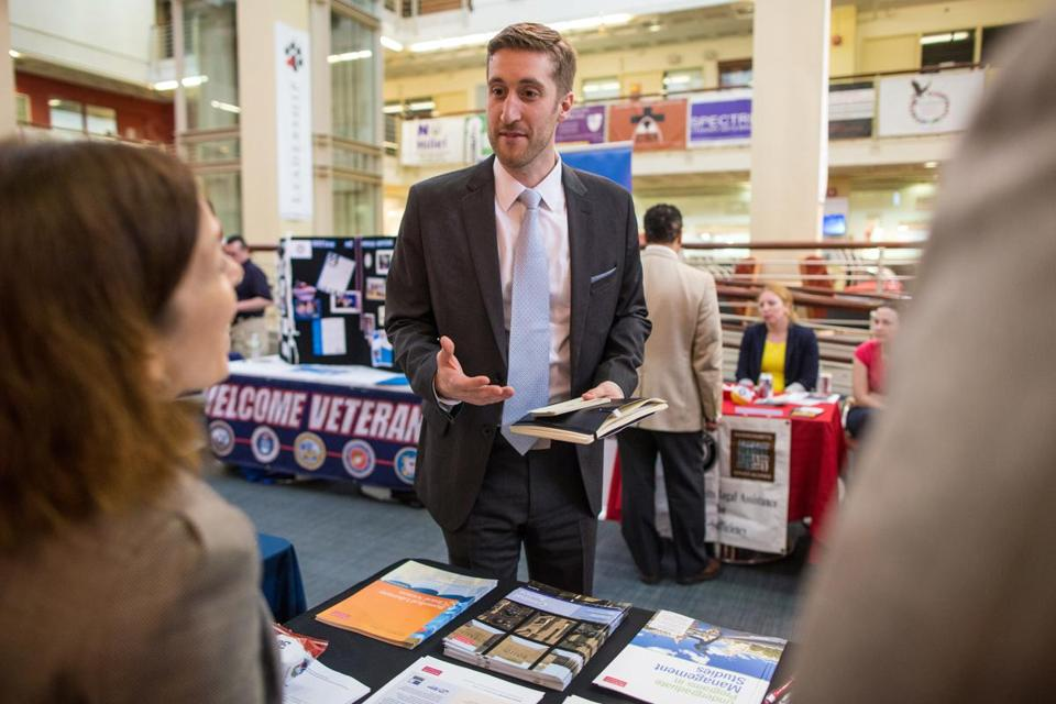 Erik DeGiorgi spoke to veterans' services representatives at Northeastern University.