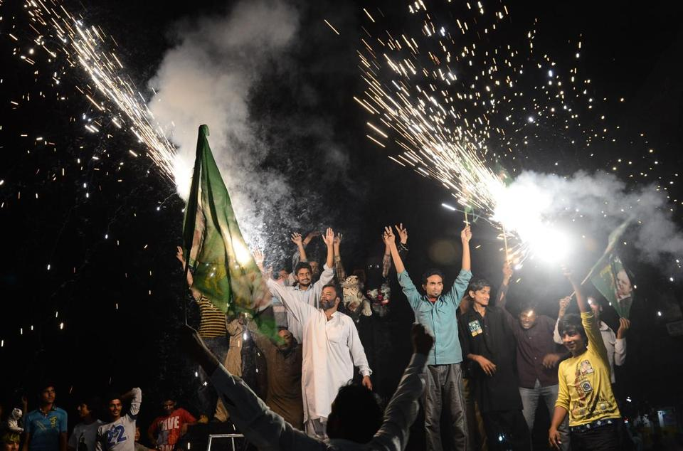 Supporters of the former prime minister and head of the Pakistan Muslim League-N party, Nawaz Sharif, celebrated.