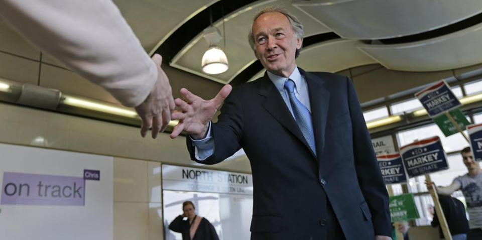 Representative Edward Markey, the Democratic Senate candidate, shook hands with a commuter at North Station in April.