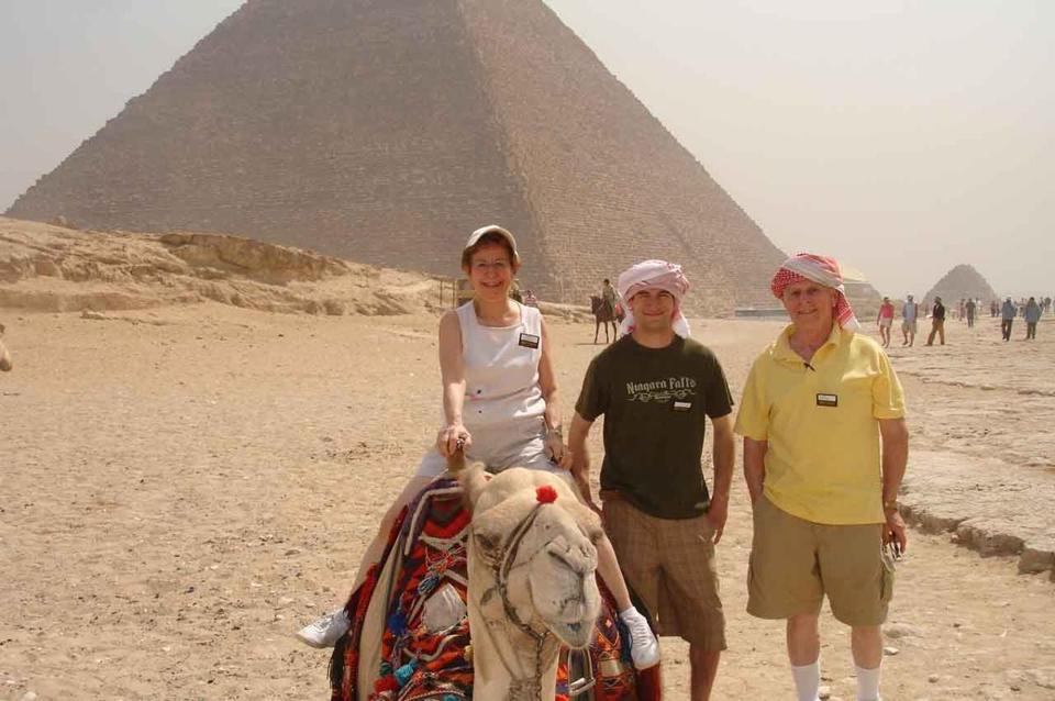 Carmela Varraso got to ride a camel on a visit to Egypt in 2008 with her grandson Mark Berardi (center) and her husband, Al.  The trip was Berardi's high school graduation gift.