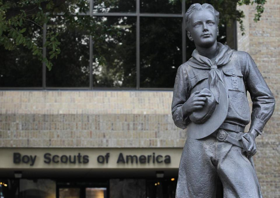 The statue of a scout stands in the entrance to Boy Scouts of America headquarters in Irving, Texas.