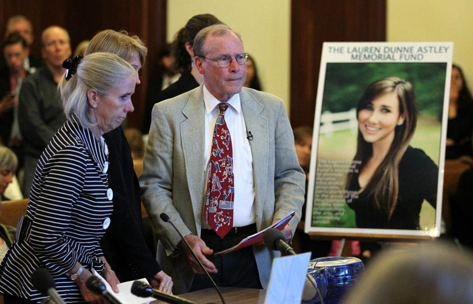 Mary Dunne and Malcolm Astley, parents of Lauren Dunne Astley (in photo), asked lawmakers Tuesday to add lessons on dating violence to health education classes in schools. Their daughter was killed after breaking up with her boyfriend.