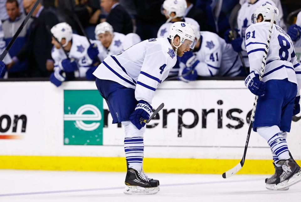 Cody Franson skated to the bench after losing in overtime to the Bruins.