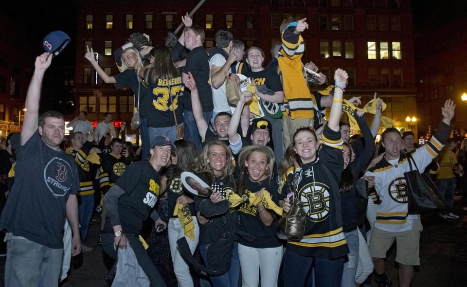 Fans celebrated outside of TD Garden after the Bruins' win on Monday.