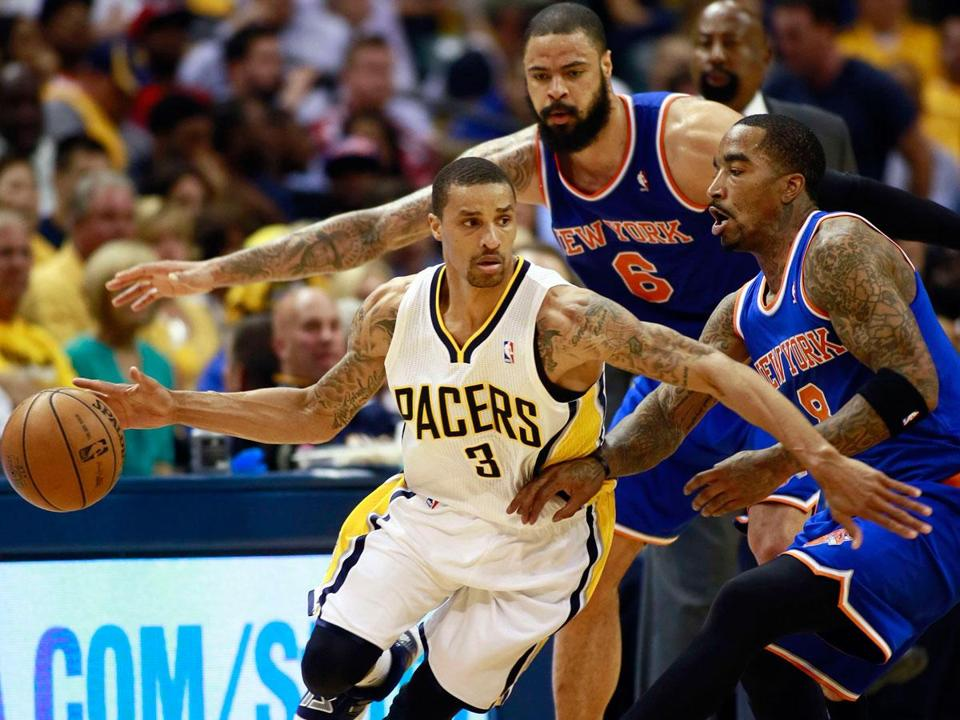George Hill scored 26 points against the Knicks.