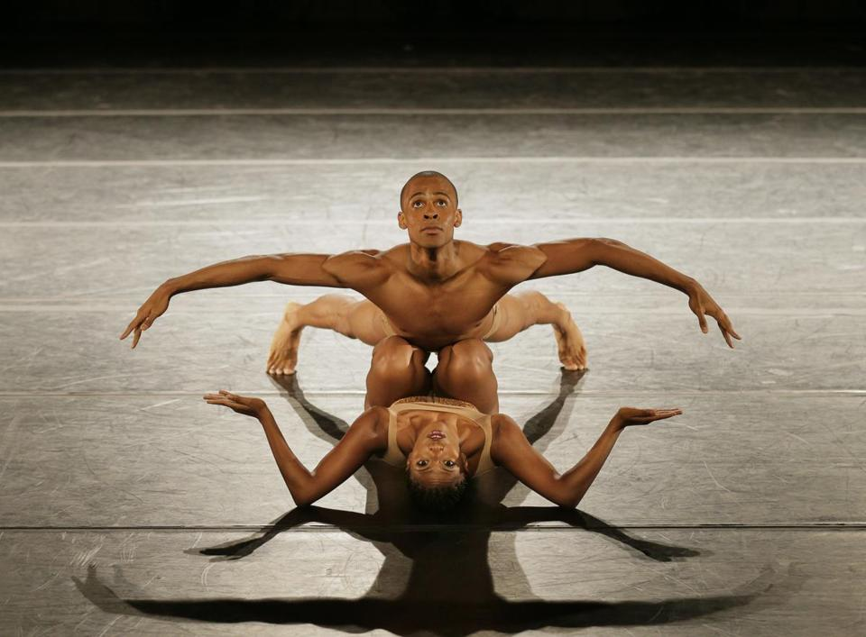 "Yannick Lebrun and Jacqueline Green in the Alvin Ailey American Dance Theater's performance of ""Petite Mort."""
