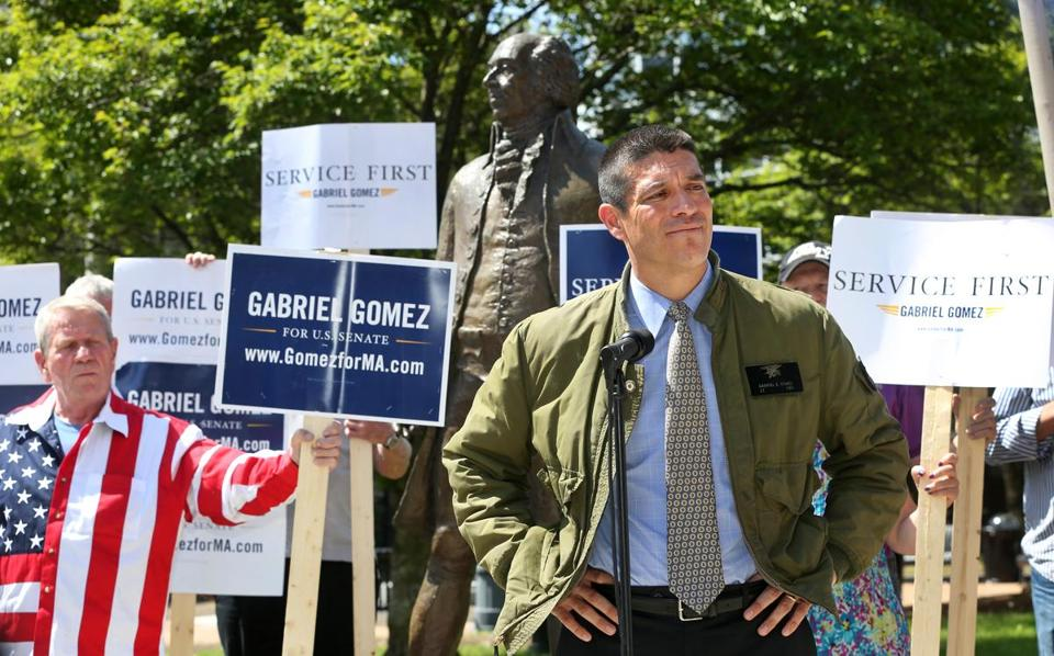 Republican US Senate nominee Gabriel Gomez makes a campaign stop at the John Adams statue in Quincy Thursday.