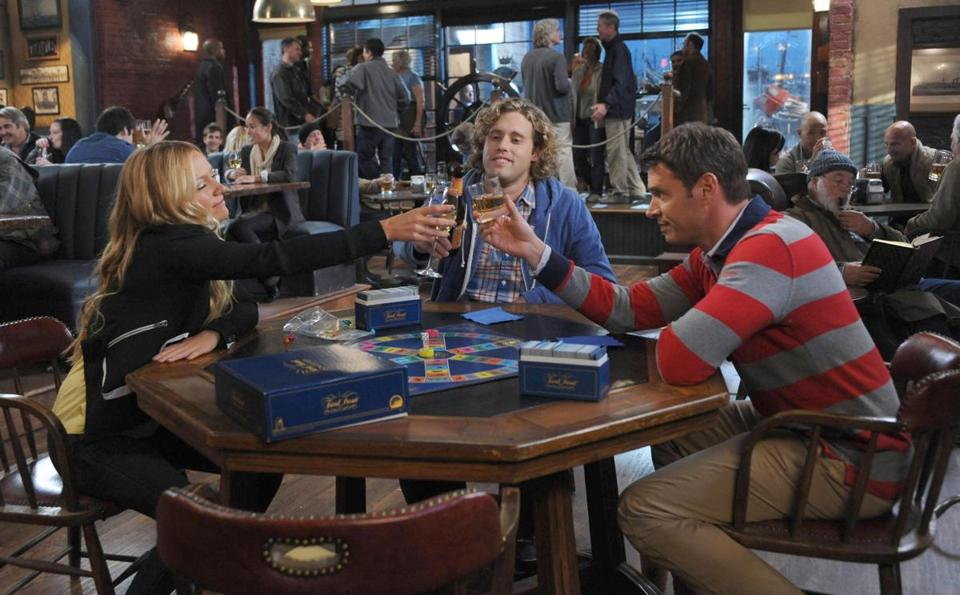 "From left: Becki Newton, T.J. Miller, and Scott Foley in ""The Goodwin Games."""