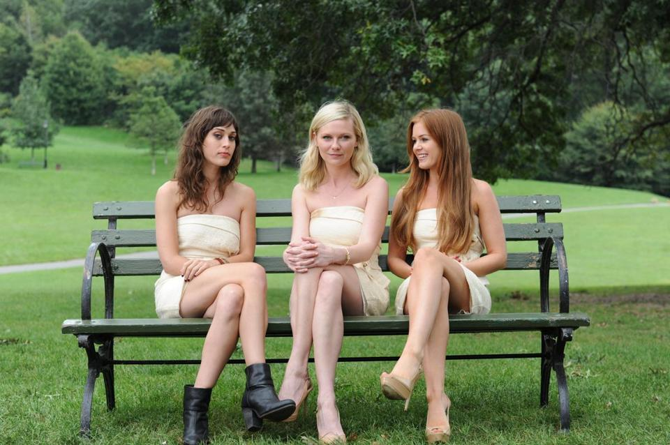 "Lizzy Caplan, Kirsten Dunst, and Isla Fisher in ""Bachelor-ette."""