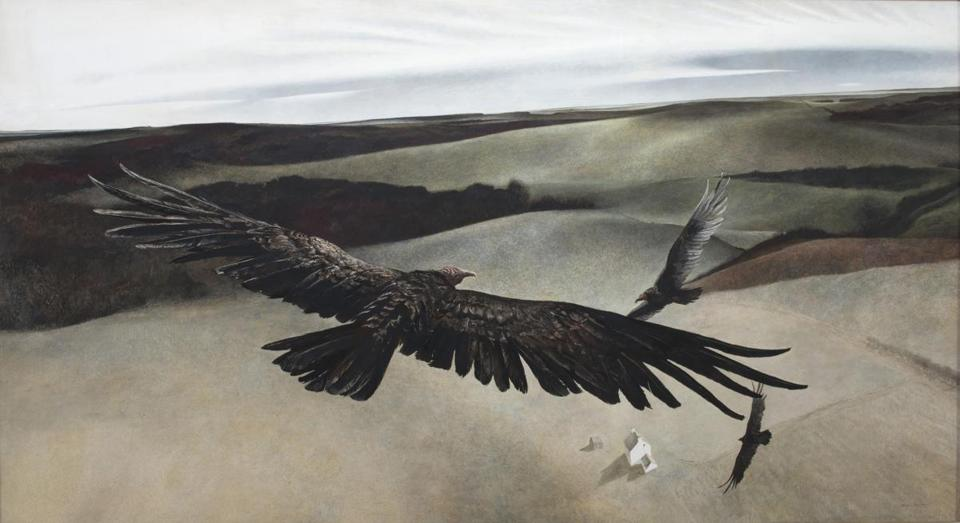 "Andrew Wyeth's ""Soaring"" is among the works by three generations of his family on view at the Shelburne Museum through Oct. 27."