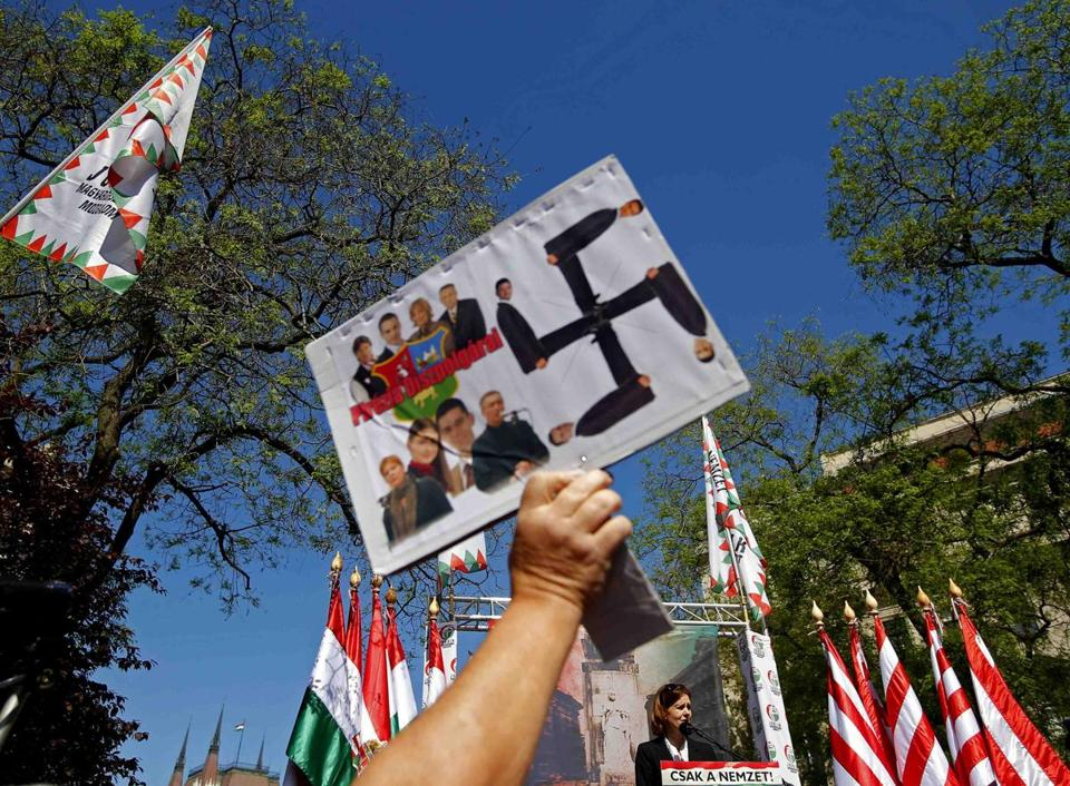 A supporter of Hungary's Jobbik party attended a rally earlier this month.