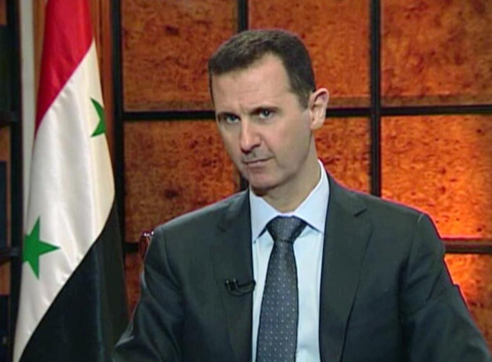 Bashar Assad appeared on Syrian state television last month.
