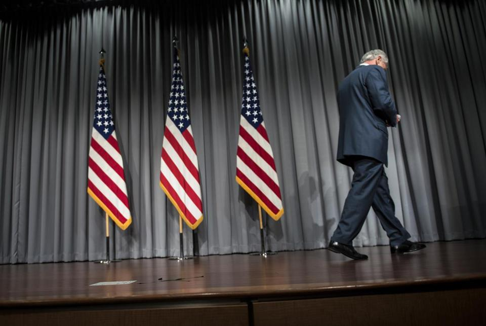 Defense Secretary Chuck Hagel departed after announcing a reduction in planned furloughs at a forum last week.