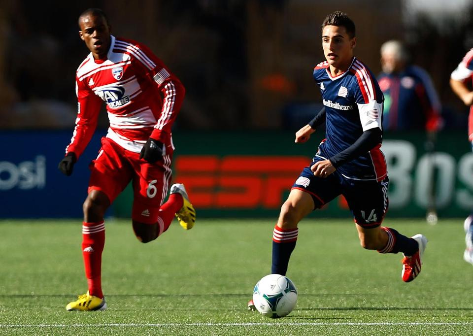 Diego Fagundez (right) ranks as the top scorer for the Revolution — with two goals.