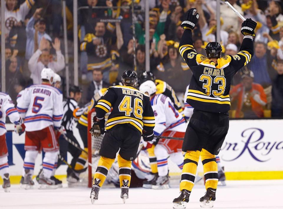Zdeno Chara scored a goal and helped set up the winning score while logging a season-high 38:02 of ice time.