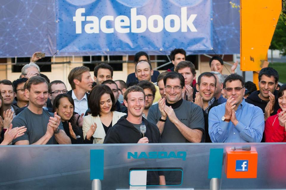 Facebook founder and CEO Mark Zuckerberg rang the opening bell of the Nasdaq stock market from Facebook's headquarters in Menlo Park, Calif., a year ago.