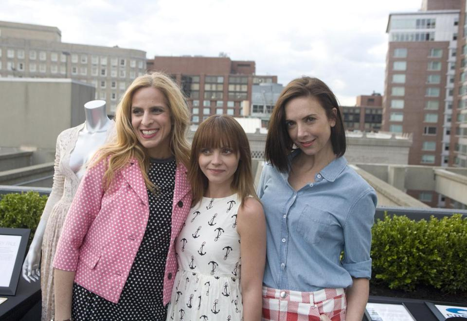 From left: Karen Mulligan, Christina Ricci, and Jill Demling on the Revere Hotel rooftop.