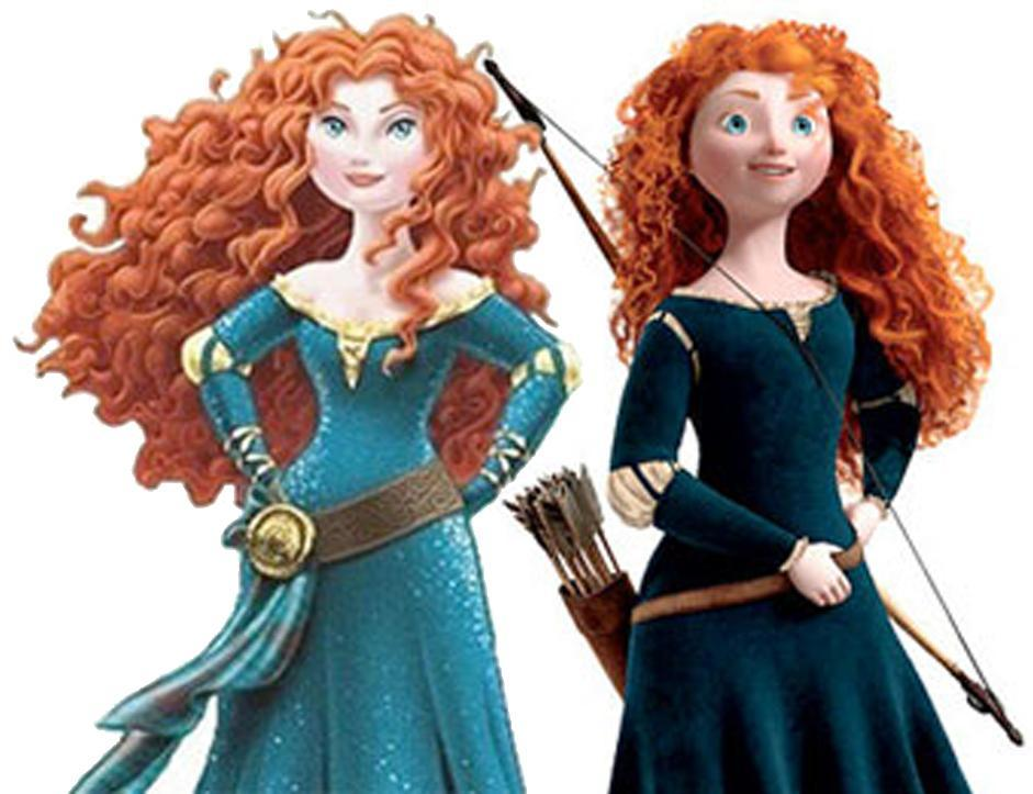 The new Merida, and the movie version.