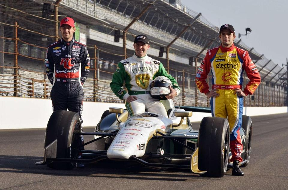 Pole winner Ed Carpenter is flanked by No. 2 qualifier Carlos Munoz (right) and No. 3 Marco Andretti.