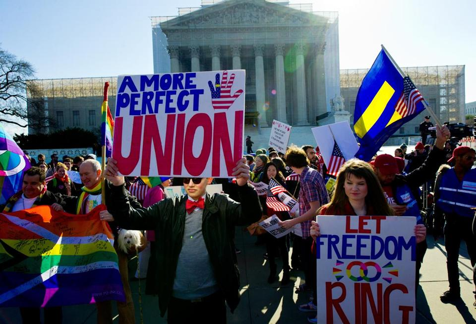 Gay marriage supportes marched at the U.S. Supreme Court in Washington, D.C.