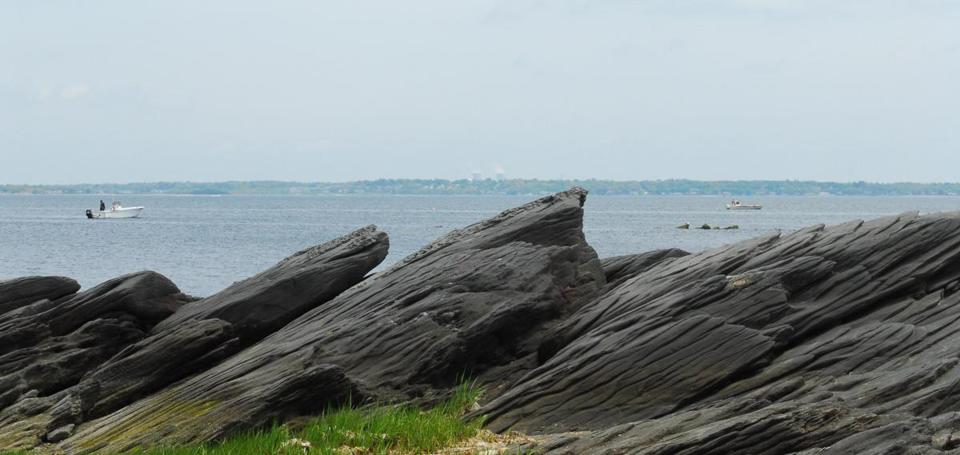 A view of Narragansett Bay from a beach along the Rocky Point walking/biking trail.