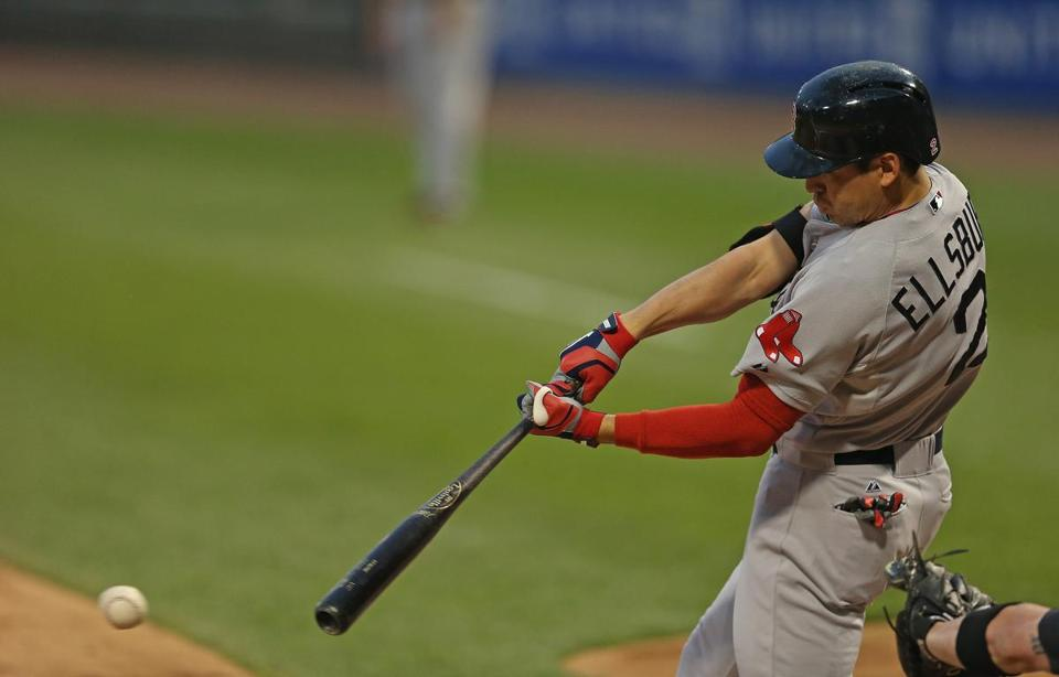 Jacoby Ellsbury follows through on a single in the second inning on Wednesday.
