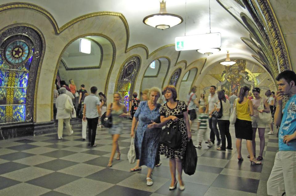 Moscow's underground opened in 1936 and carries millions of Muscovites every day to more than 180 stations, some as elegantly appointed as this one.