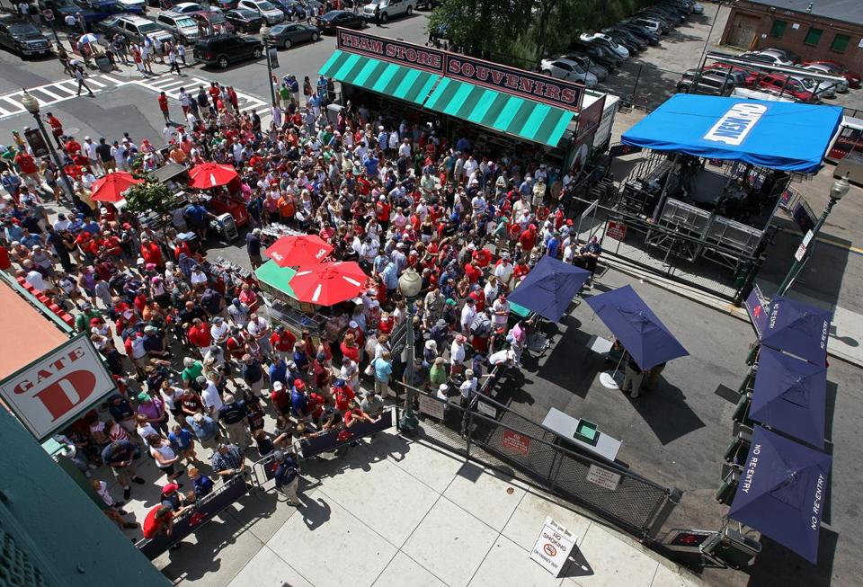 The Red Sox paid $210,000 this year for rights to have a food and souvenir court on Yawkey Way (above) and seats over Lansdowne Street. It could gross about $6 million in sales from that license.