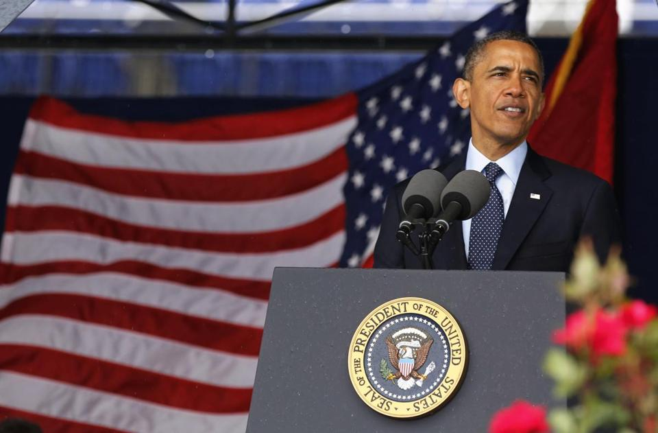President Obama spoke at the US Naval Academy commencement ceremony.